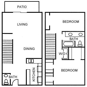 1,088 sq. ft. B3 floor plan