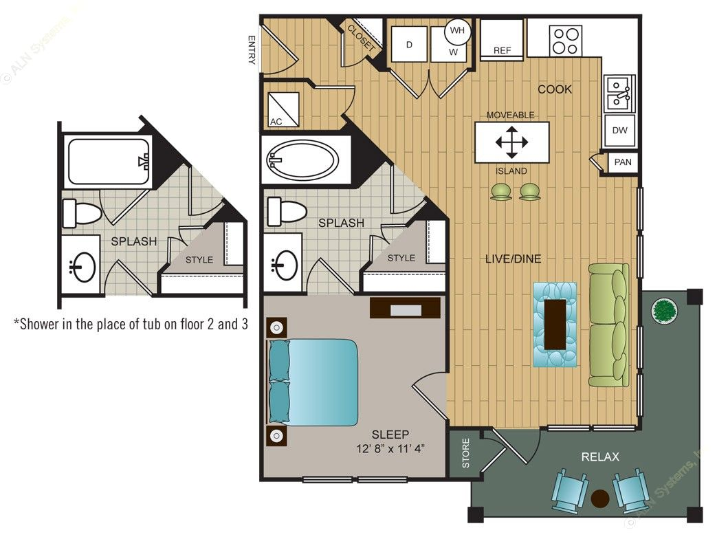 632 sq. ft. A4 floor plan