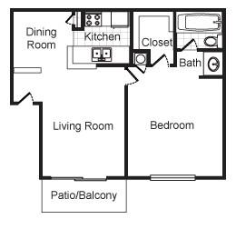 608 sq. ft. Balden floor plan
