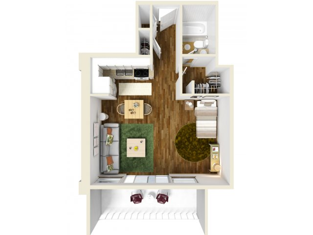 492 sq. ft. Studio floor plan