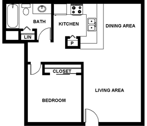 660 sq. ft. Ashland floor plan