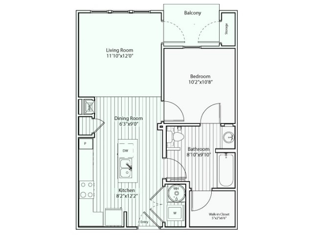 656 sq. ft. A1 60% floor plan