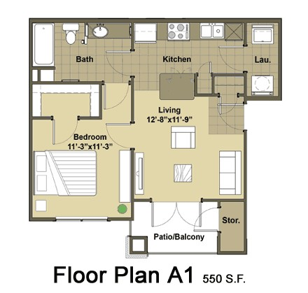 550 sq. ft. Brooklyn floor plan