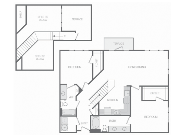 1,281 sq. ft. to 1,475 sq. ft. Gm Mkt floor plan