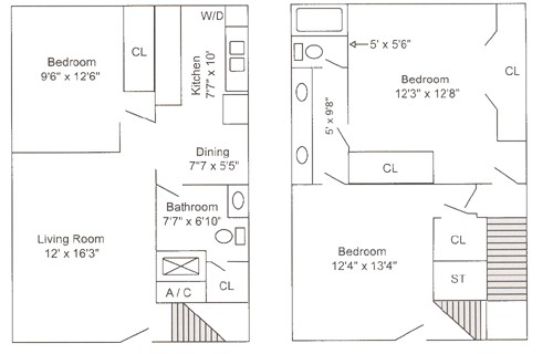 1,160 sq. ft. C1 floor plan