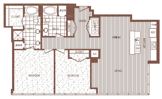 1,450 sq. ft. B2 floor plan