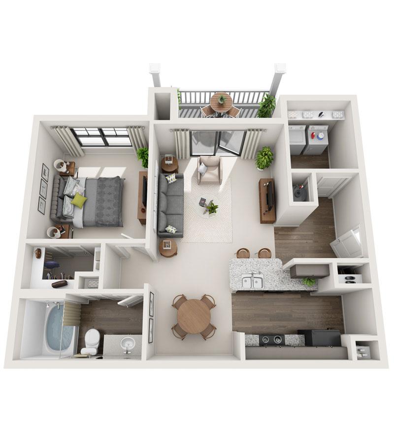 822 sq. ft. A2 floor plan