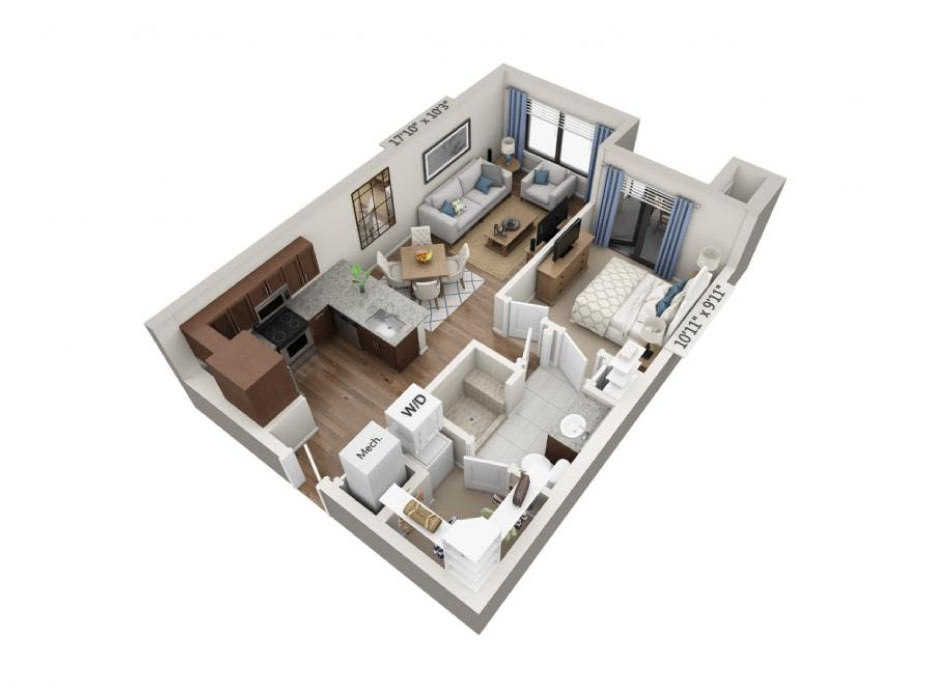 635 sq. ft. Adagio floor plan
