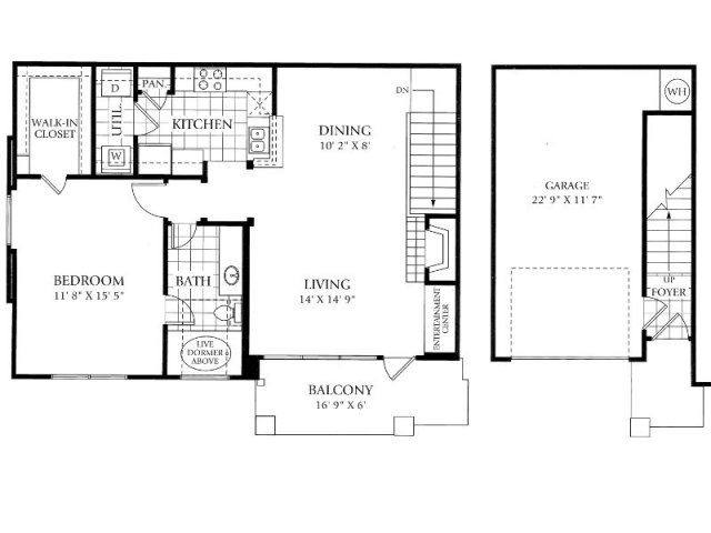 896 sq. ft. A2 floor plan