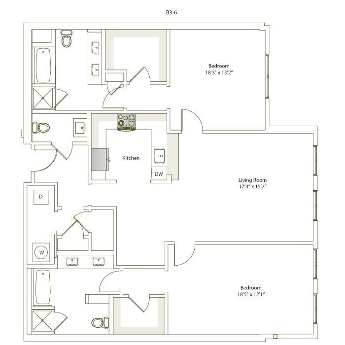 1,528 sq. ft. B3-6/B3-7 floor plan