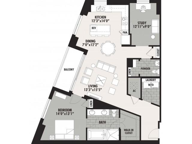 1,320 sq. ft. A16 floor plan