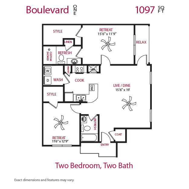 1,097 sq. ft. Boulevard 1 floor plan