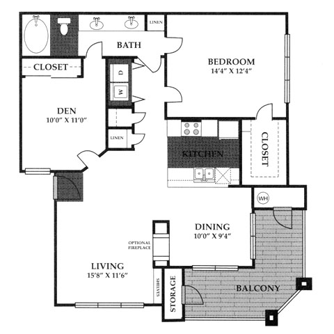 975 sq. ft. A5 floor plan