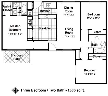 1,330 sq. ft. C2 floor plan