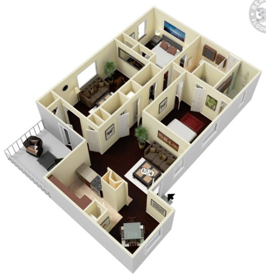 1,422 sq. ft. B2D floor plan
