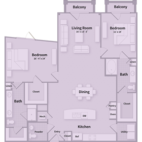 1,572 sq. ft. D2 floor plan