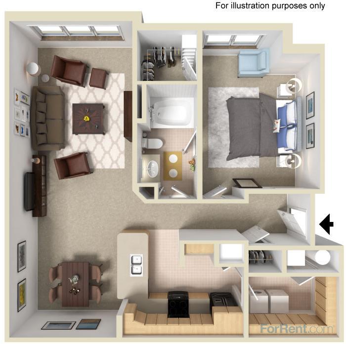 907 sq. ft. 60% floor plan