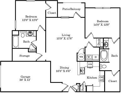 1,378 sq. ft. B2G floor plan