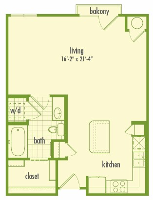 612 sq. ft. EFF floor plan