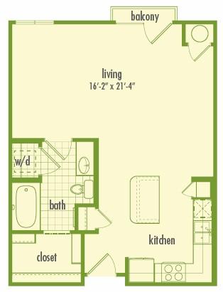 612 sq. ft. EFF floor plan