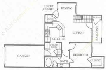733 sq. ft. A1 floor plan
