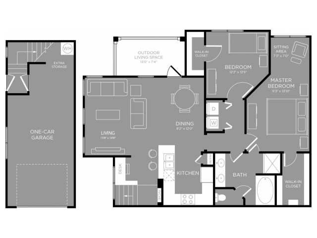 1,181 sq. ft. Orchid floor plan