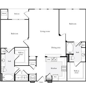 1,200 sq. ft. B2.2 floor plan