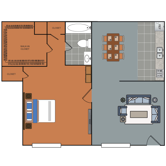 689 sq. ft. Randolph floor plan