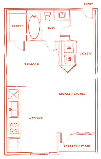 529 sq. ft. E1 floor plan
