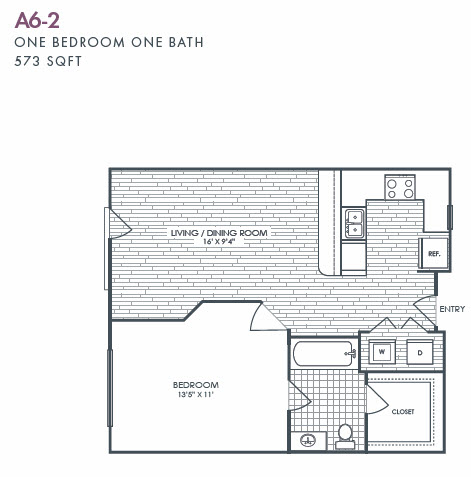 573 sq. ft. A6-2 floor plan
