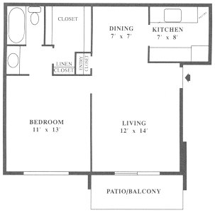 642 sq. ft. A2 floor plan