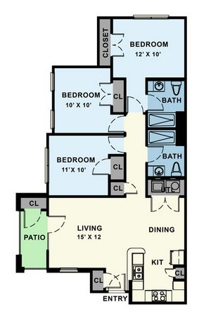 1,100 sq. ft. 30% floor plan