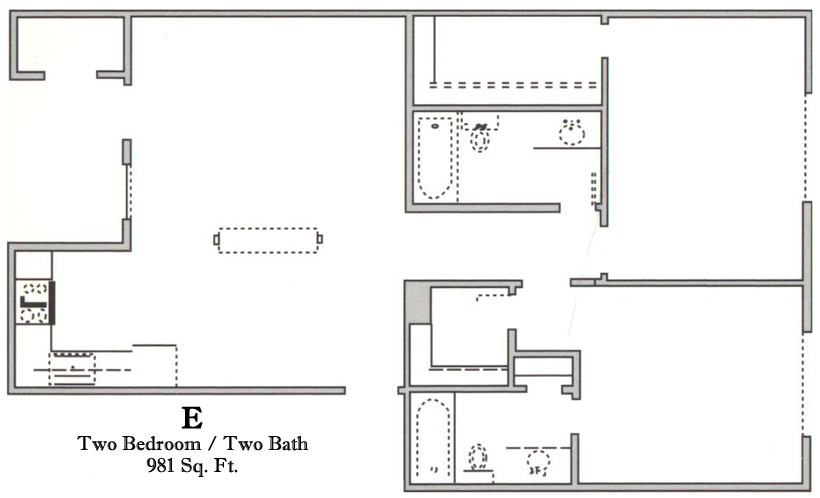 981 sq. ft. E/60 floor plan