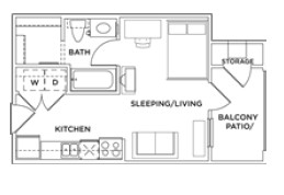 360 sq. ft. Eff A floor plan