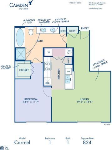 824 sq. ft. CARMEL floor plan
