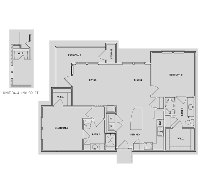 1,185 sq. ft. B4/B4-A floor plan