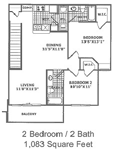 1,083 sq. ft. B4 60 floor plan