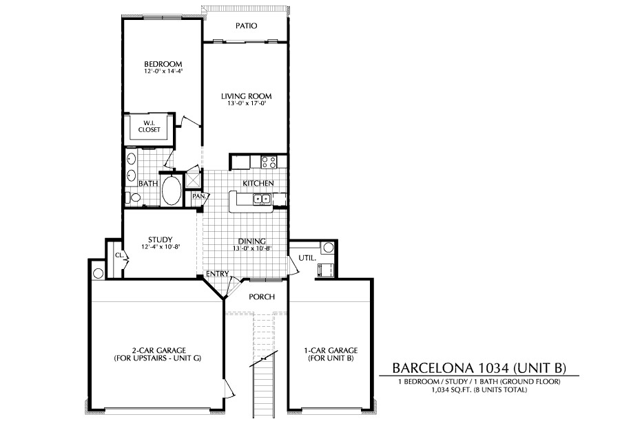 1,034 sq. ft. B floor plan