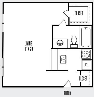 400 sq. ft. 60% floor plan