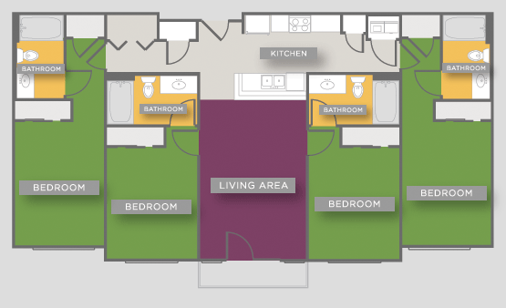 1,442 sq. ft. D1 floor plan