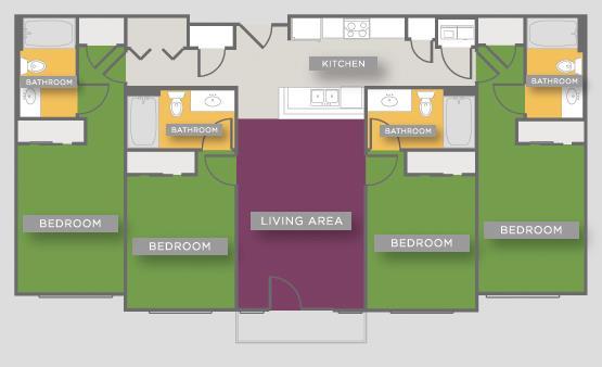 1,142 sq. ft. D1 floor plan