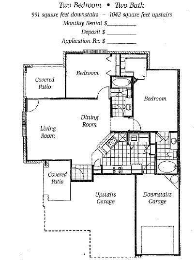 991 sq. ft. to 1,042 sq. ft. Mkt floor plan