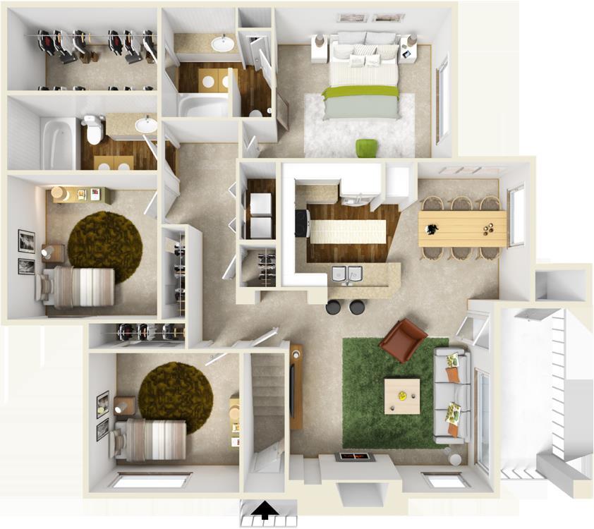 1,320 sq. ft. F floor plan