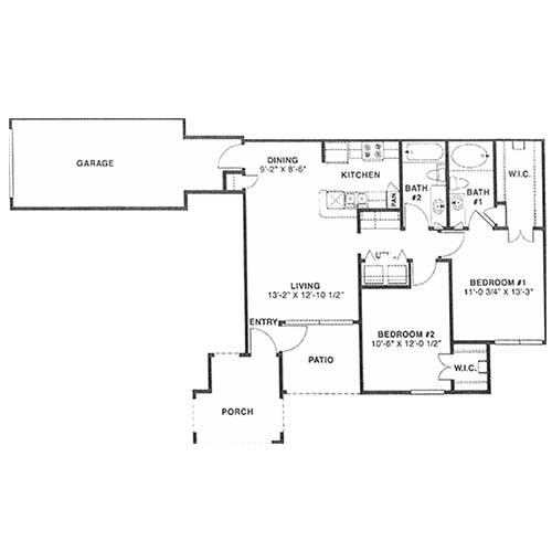 991 sq. ft. D 60% floor plan