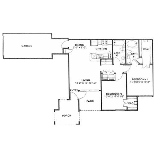 991 sq. ft. D 60% floor plan
