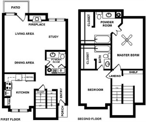 1,297 sq. ft. D floor plan