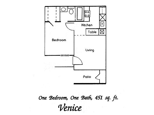451 sq. ft. Venice floor plan