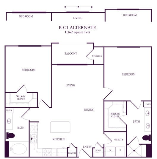 1,084 sq. ft. B-C1 floor plan