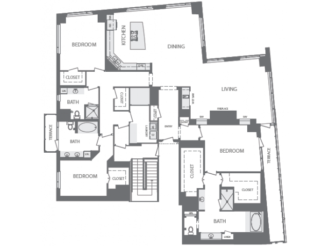 3,702 sq. ft. T floor plan