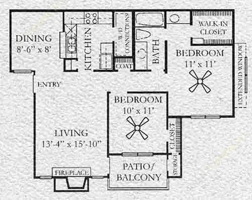 868 sq. ft. Windhaven floor plan